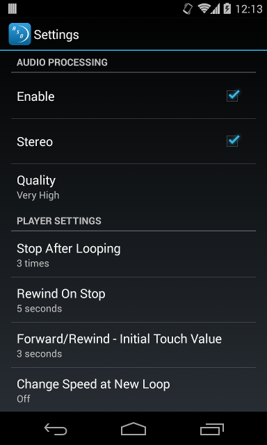Amaizng Slow Downer Android settings