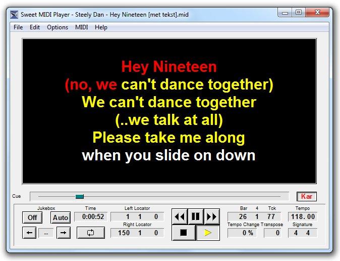 Sweet MIDI Player for Windows and Mac - with Karaoke display